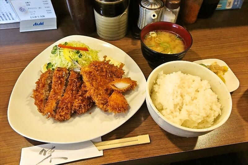 『とんかつ 大国』でミックス定食700円を食べたら美味しかった@八王子