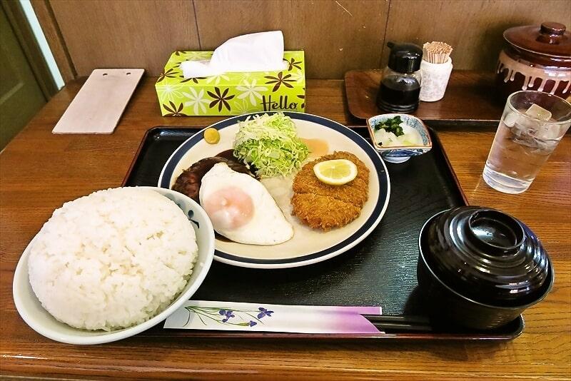 『レストランかつみ』ハンバーグ+メンチかつライス大盛り@相模原