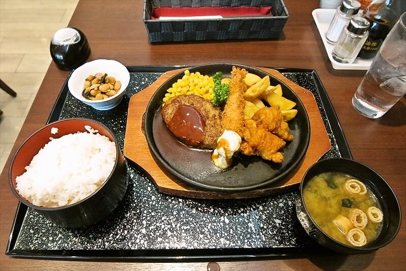相模原『菱華』Bランチはハンバーグ・エビフライ・鶏唐揚で730円!