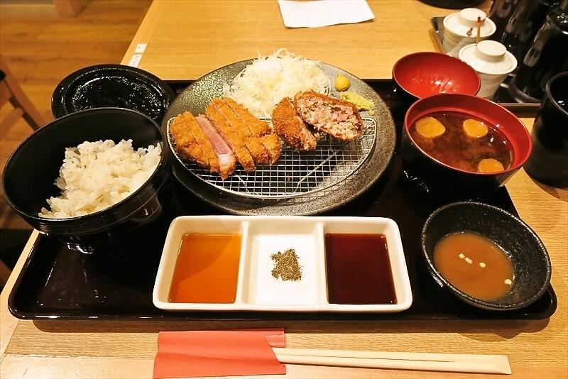 町田『京都勝牛』牛リブロースカツ牛メンチカツ膳的な牛カツ食べる