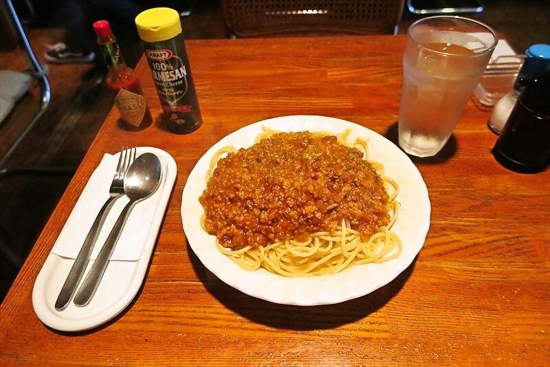 『喫茶ブルーム』ミートソーススパゲティー大盛りのミート感
