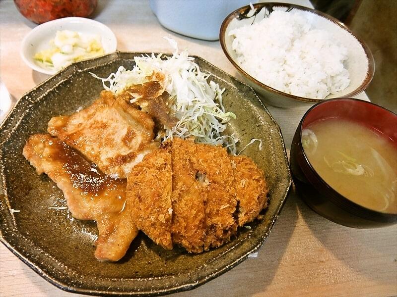 『福与志』メンチカツ&生姜焼き定食1