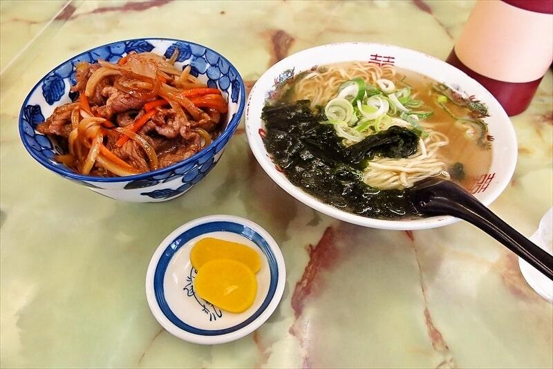 『よしの食堂』牛焼き丼と塩ラーメン