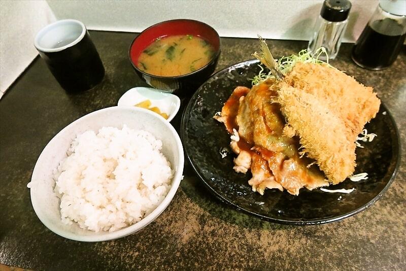 『まえだや』生姜焼き定食&アジフライ1