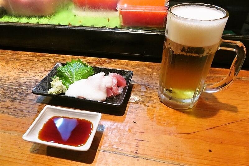 『遊喜や』お通し&ビール