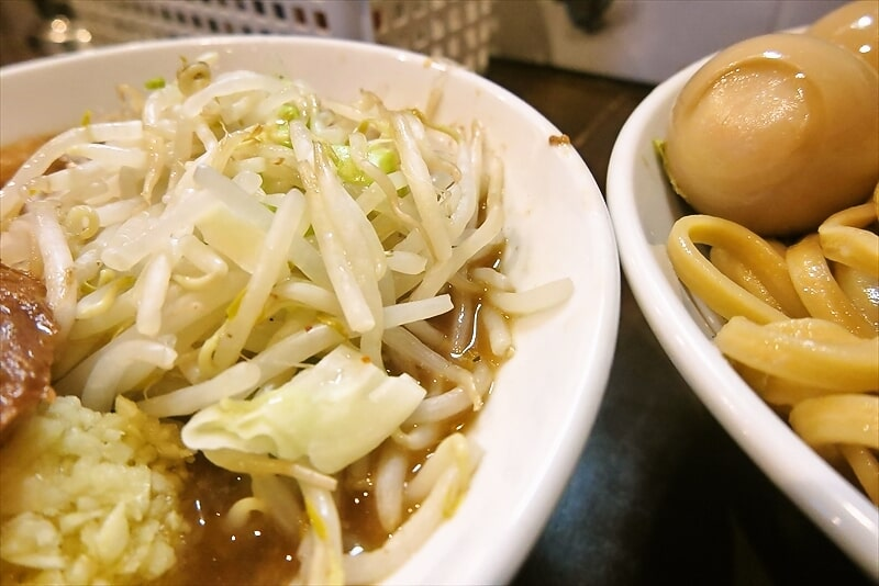 『麺屋 歩夢』8月小つけ麺ラー油抜き味玉W海苔3
